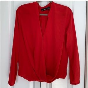 DKNY red wrap blouse